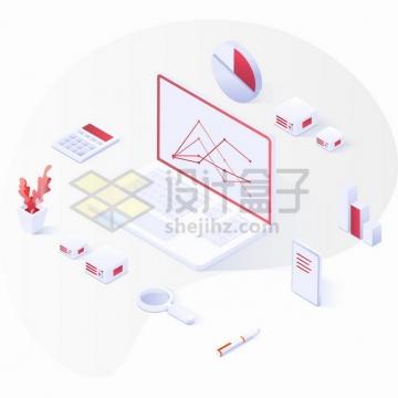 2.5D风格白色笔记本电脑和云计算服务png图片素材