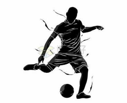 抽象风格踢足球的运动员撕裂风剪影png图片素材324366