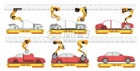 工厂流水线上机械手臂装配汽车扁平插画png图片素材
