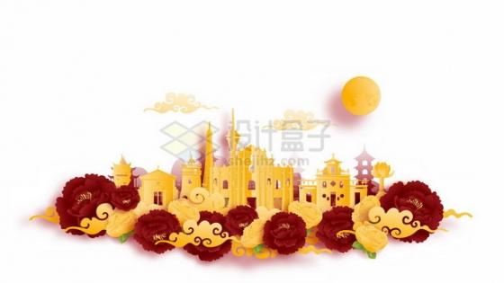 彩色剪纸叠加中国风澳门城市风景932024png矢量图片素材
