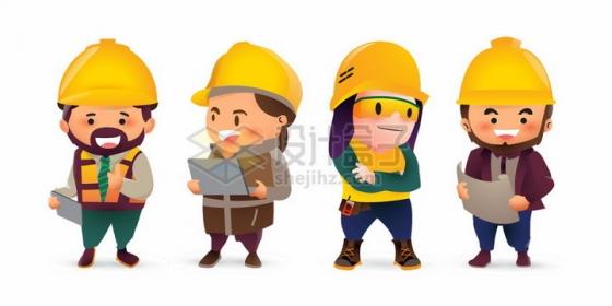4个可爱的卡通建筑工人五一劳动节png图片免抠矢量素材