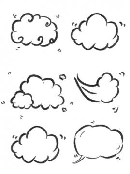 6款手绘风格云形对话框文本框图片免抠素材