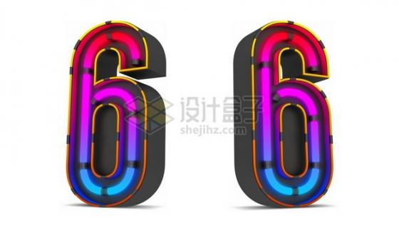 C4D风格紫红色霓虹灯管效果3D立体数字六6艺术字体161254psd/png图片素材