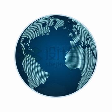 科技风格蓝色圆点组成的地球模型可以看到大西洋png图片免抠矢量素材