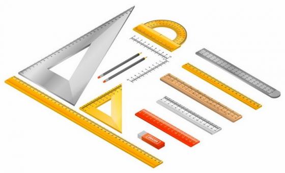 整齐摆放在一起的三角尺直尺量角器铅笔橡皮等学生测量工具png图片免抠矢量素材