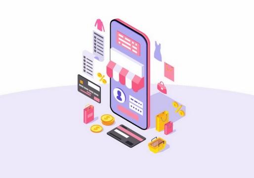 2.5D风格智能手机上开网店卖东西微商png图片免抠矢量素材