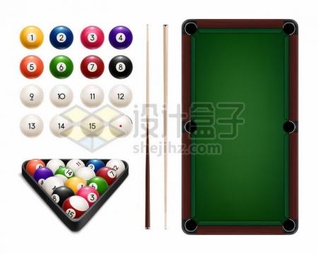 俯视视角的台球球桌和球杆png图片免抠矢量素材