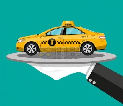 一只手托着一辆出租车png图片素材
