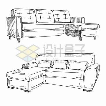 手绘素描风格真皮客厅沙发家具png图片免抠矢量素材
