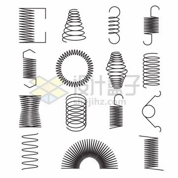 15款黑色线条弹簧png图片素材