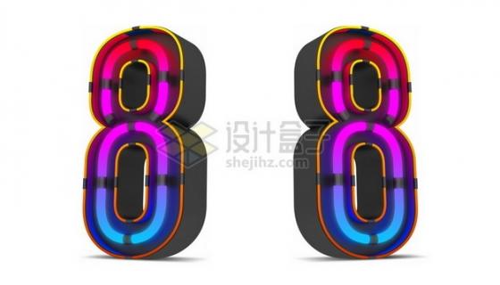 C4D风格紫红色霓虹灯管效果3D立体数字八8艺术字体179540psd/png图片素材
