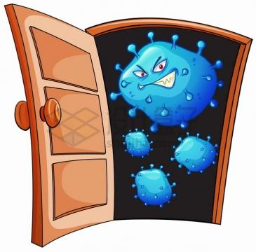 打开房门的邪恶卡通新型冠状病毒png图片素材