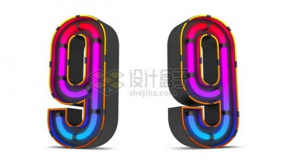 C4D风格紫红色霓虹灯管效果3D立体数字九9艺术字体648028psd/png图片素材