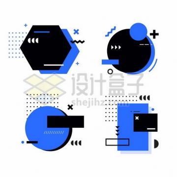 4款孟菲斯风格紫黑色多边形圆形装饰389824png图片素材