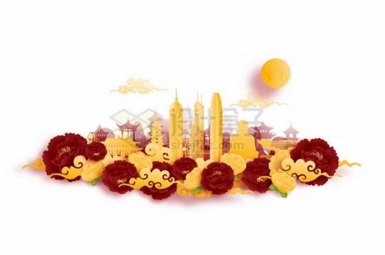 彩色剪纸叠加中国风香港城市风景424620png矢量图片素材