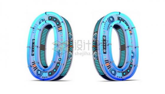 C4D风格蓝色机械3D立体数字零0艺术字体893050psd/png图片素材