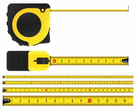 黑色和黄色两种颜色的卷尺测量工具png图片免抠矢量素材