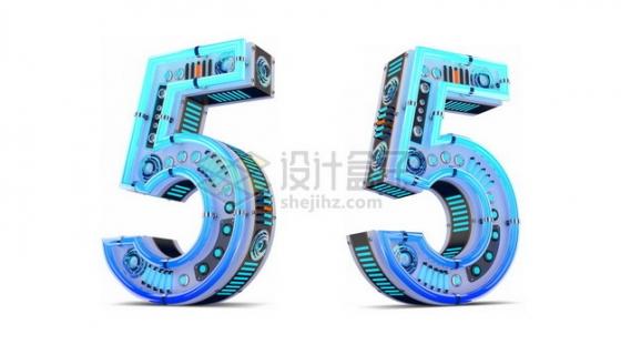 C4D风格蓝色机械3D立体数字五5艺术字体846952psd/png图片素材