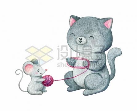 可爱猫咪和老鼠在做线团水彩插画png图片免抠矢量素材