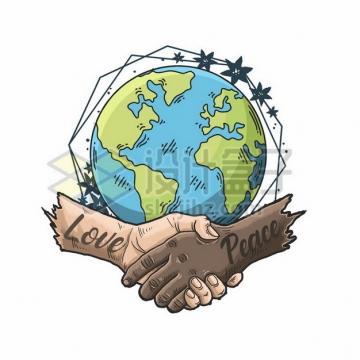手绘地球和握手象征了爱与和平宣传插画771159png图片素材