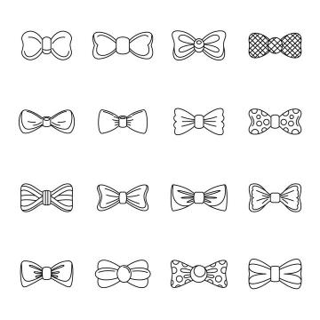16款简约黑色线条风格的蝴蝶结图案免抠矢量图片素材