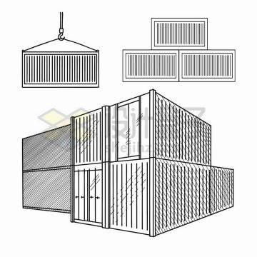 手绘素描风格集装箱png图片免抠矢量素材