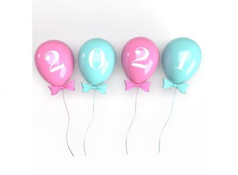 粉色蓝色气球2021年立体字体401839免抠图片素材