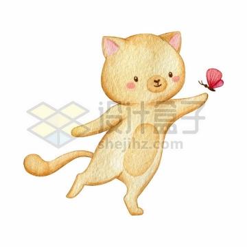超可爱卡通猫咪和蝴蝶一起玩耍水彩插画png图片免抠矢量素材