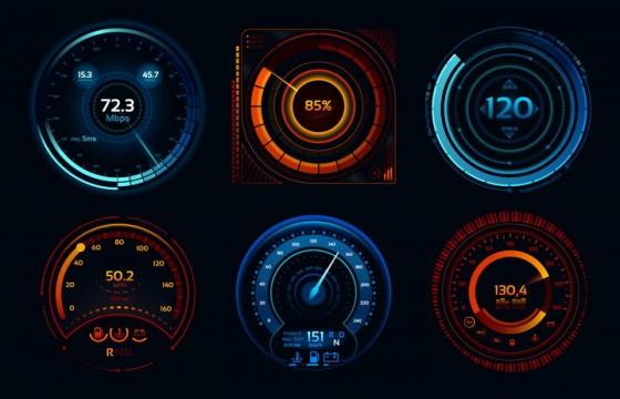 6款蓝色红色科幻风格的汽车仪表盘速度表png图片免抠矢量素材