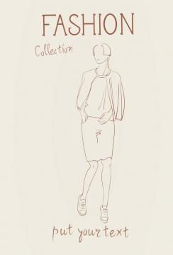 简约线条风格时尚披肩职业女性包臀裙时装设计草图图片免抠矢量素材
