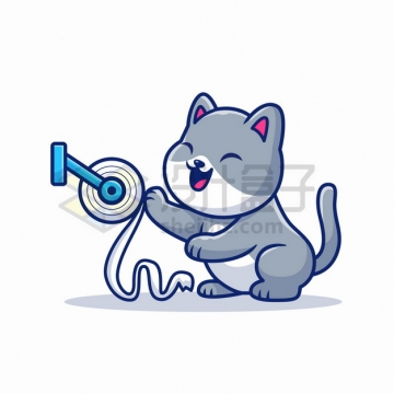 MBE风格玩厕纸的卡通猫咪png图片素材