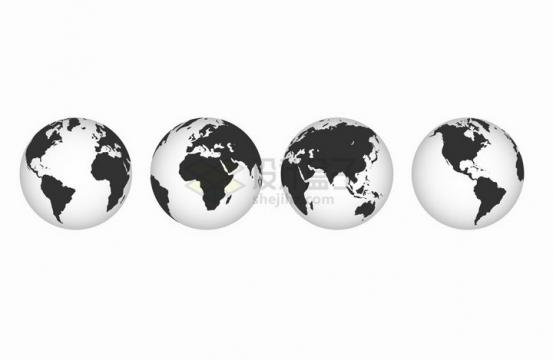 4个不同角度的半透明地球模型png图片免抠矢量素材
