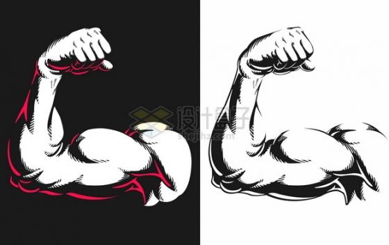黑白漫画风格展示手臂肌肉532599png图片素材