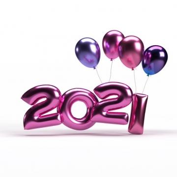 红色金属色气球风格2021年立体字体384246免抠图片素材