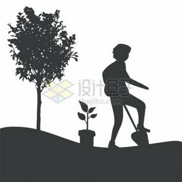 正在挖土种树的年轻人植树节剪影png图片免抠矢量素材