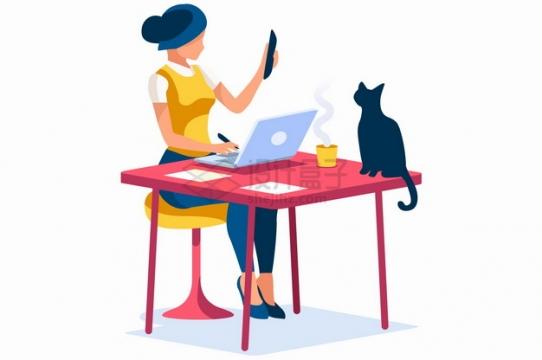 在电脑上工作的女孩和猫咪扁平插画png图片素材