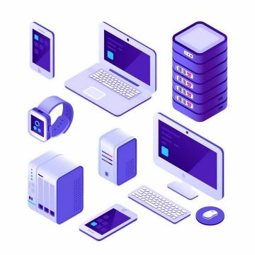 3D立体紫色智能手机笔记本电脑服务器智能手表键盘和台式机电脑png图片免抠矢量素材