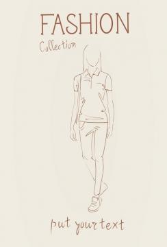简约线条风格时尚短袖T恤职业女性时装设计草图图片免抠矢量素材