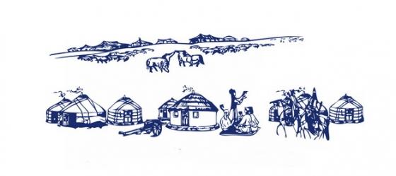 手绘素描蒙古包png图片素材