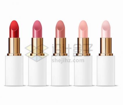 5款不同色号的口红美妆化妆品png图片免抠矢量素材