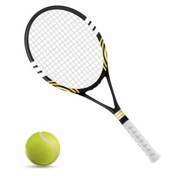 逼真的网球和网球拍体育用品png图片免抠矢量素材