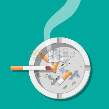 在烟灰缸上冒烟的香烟俯视图png图片素材