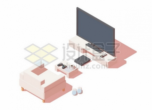 2.5D风格大屏幕电视机茶几和沙发632345矢量图片免抠素材