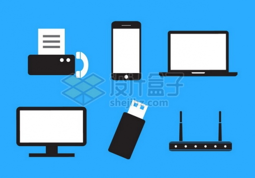 黑白色传真机手机笔记本电脑U盘路由器等电脑配件扁平化图标341443png图片素材