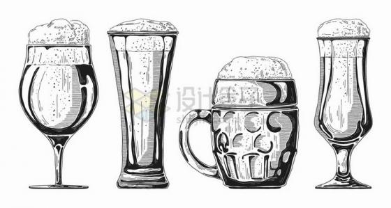 手绘素描风格4款冒着啤酒花的啤酒杯png图片免抠矢量素材