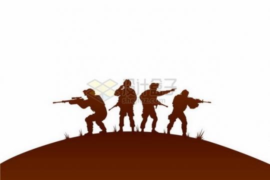 4人战斗小分队士兵战士剪影png图片免抠矢量素材