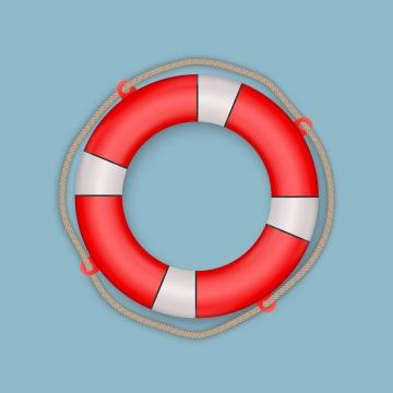 游轮上的红白相间的救生圈游泳圈免抠矢量图片素材