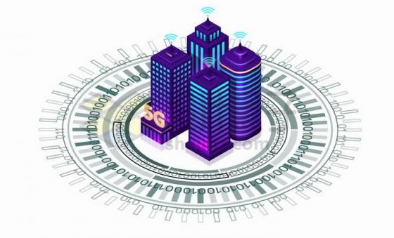 紫色摩天大楼5G城市和数字圆环png图片免抠矢量素材