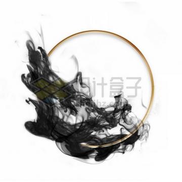 墨水烟雾水墨装饰的圆形金色边框文本框标题框信息框976947psd/png图片素材