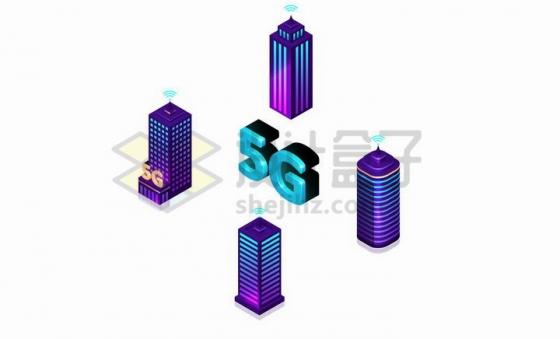 紫色摩天大楼和采用了5G技术的城市png图片免抠矢量素材